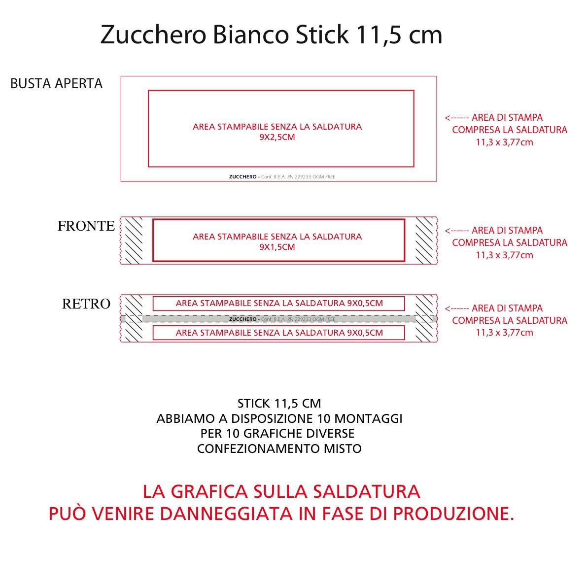 stick 11,5 cm bianco area di stampa