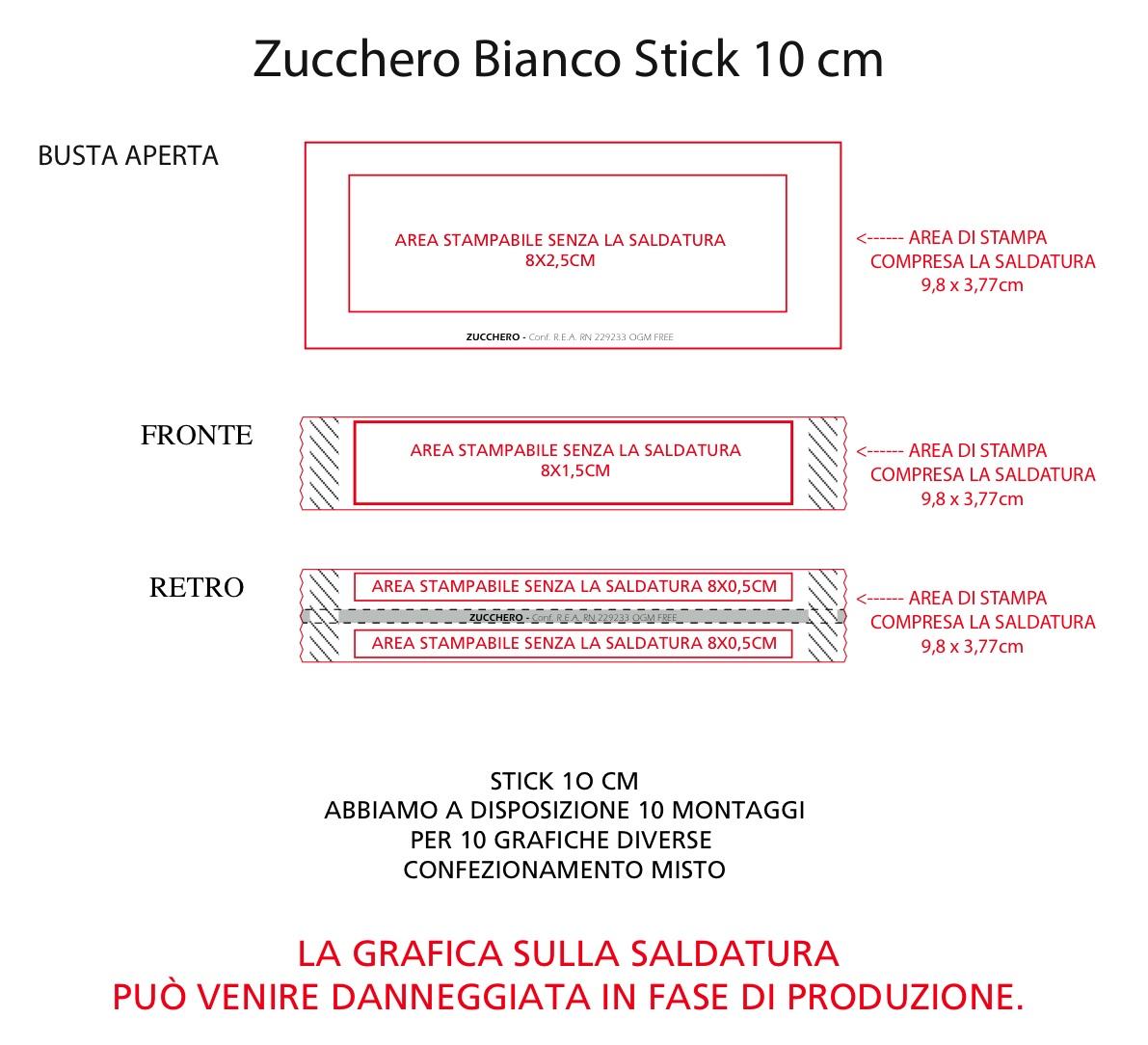 stick 10 cm BIANCO area di stampa