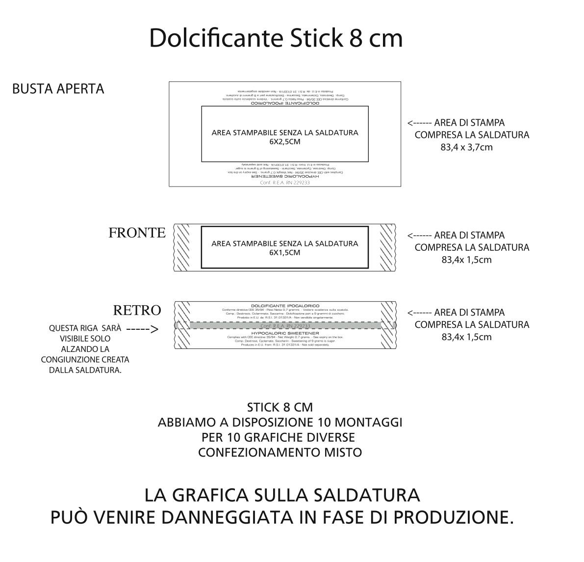 stick 8 cm dolcificante