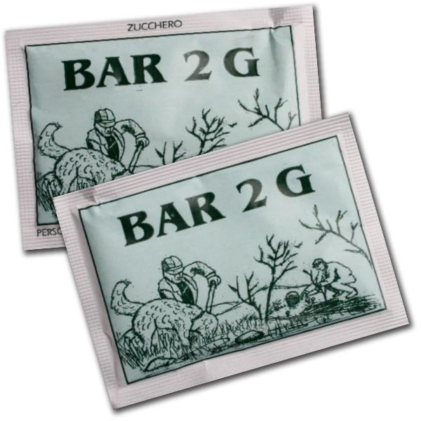 bustina di zucchero in carta grigia