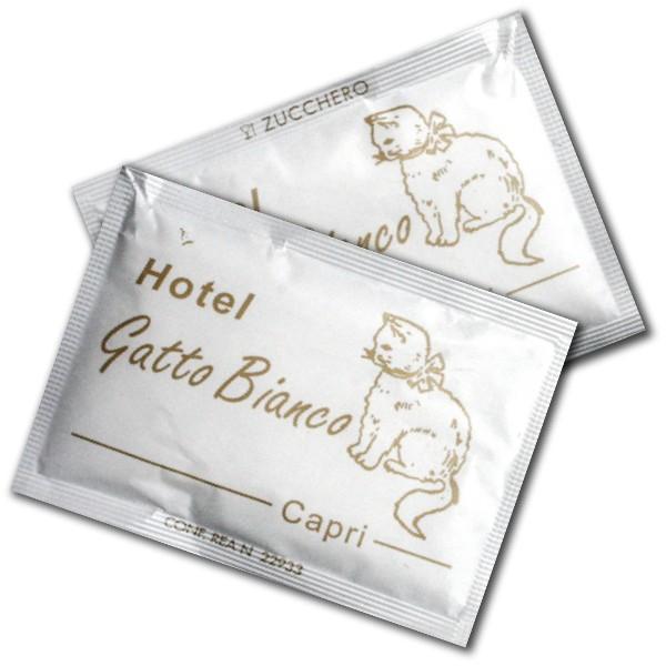 bustina di zucchero per hotel famosi