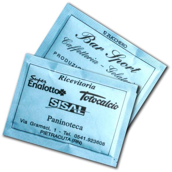 bustine di zucchero carta azzurra