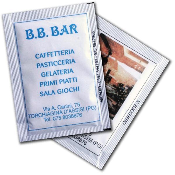 bustine di zucchero con stampa quadricromia