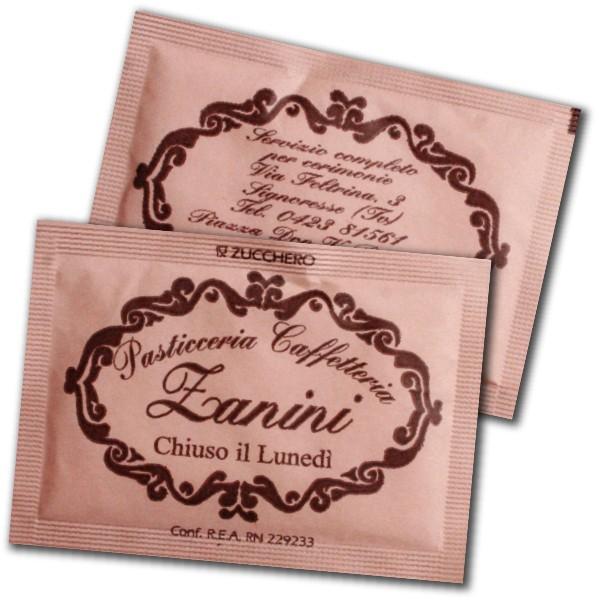 bustine di zucchero in carta rosa