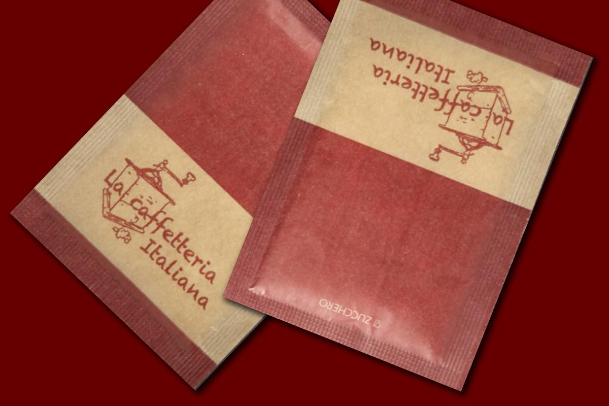 bustine di zucchero con stampa originale