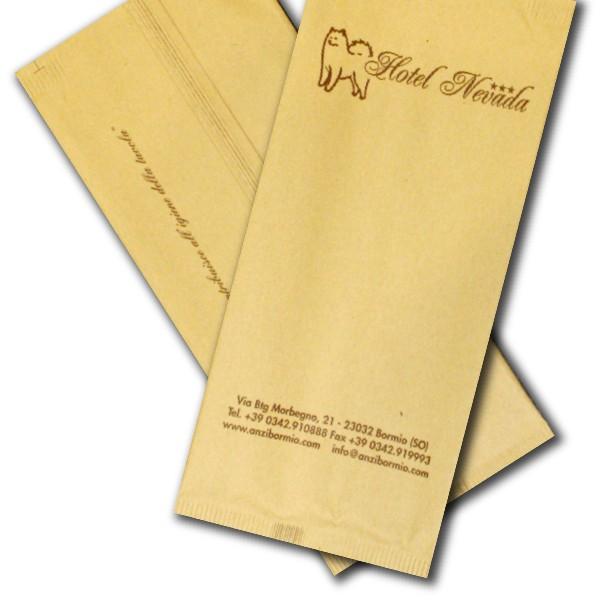 sacchetti porta posate personalizzati in carta paglia
